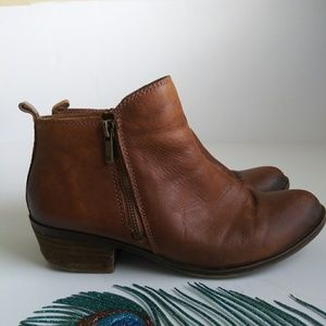 🌴Lucy Brand Tan Leather Ankle Boots Sz 8.5